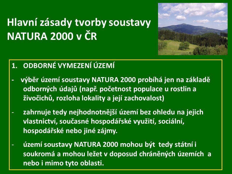 Hlavní zásady tvorby soustavy NATURA 2000 v ČR
