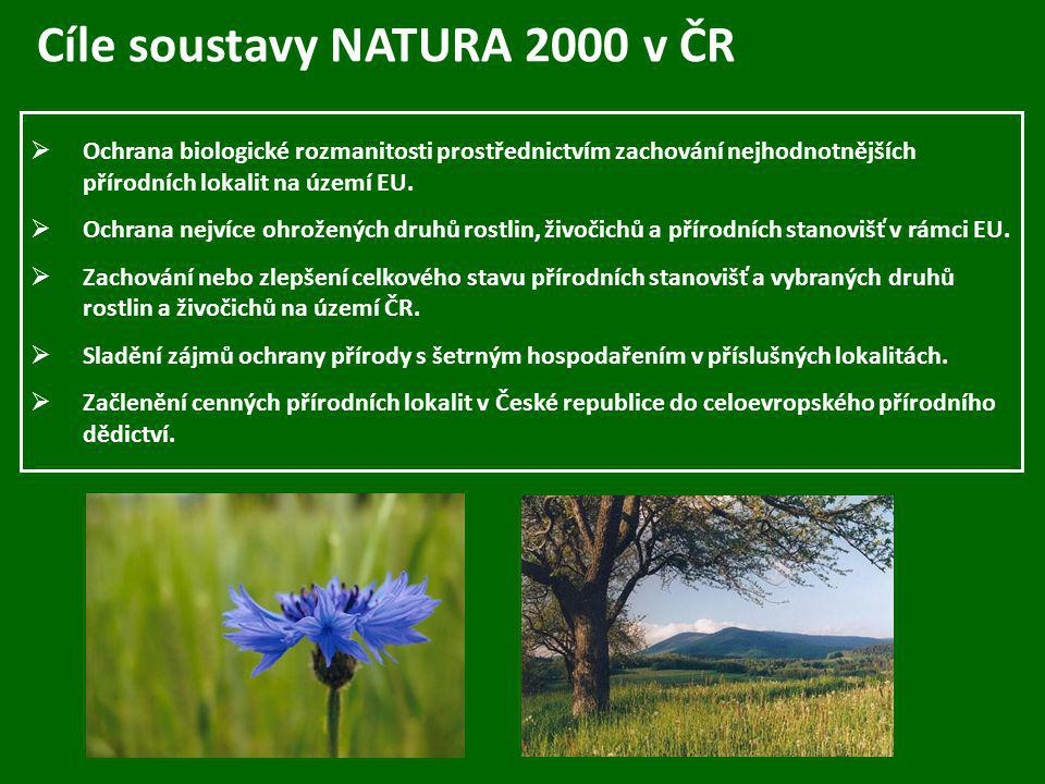 Cíle soustavy NATURA 2000 v ČR