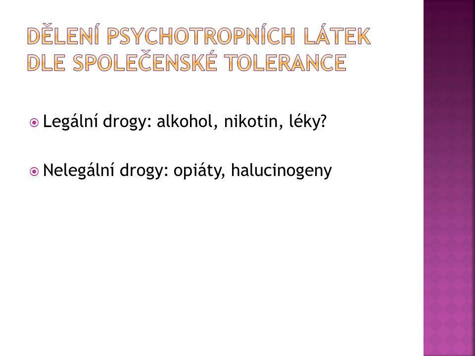 Dělení psychotropních látek dle společenské tolerance