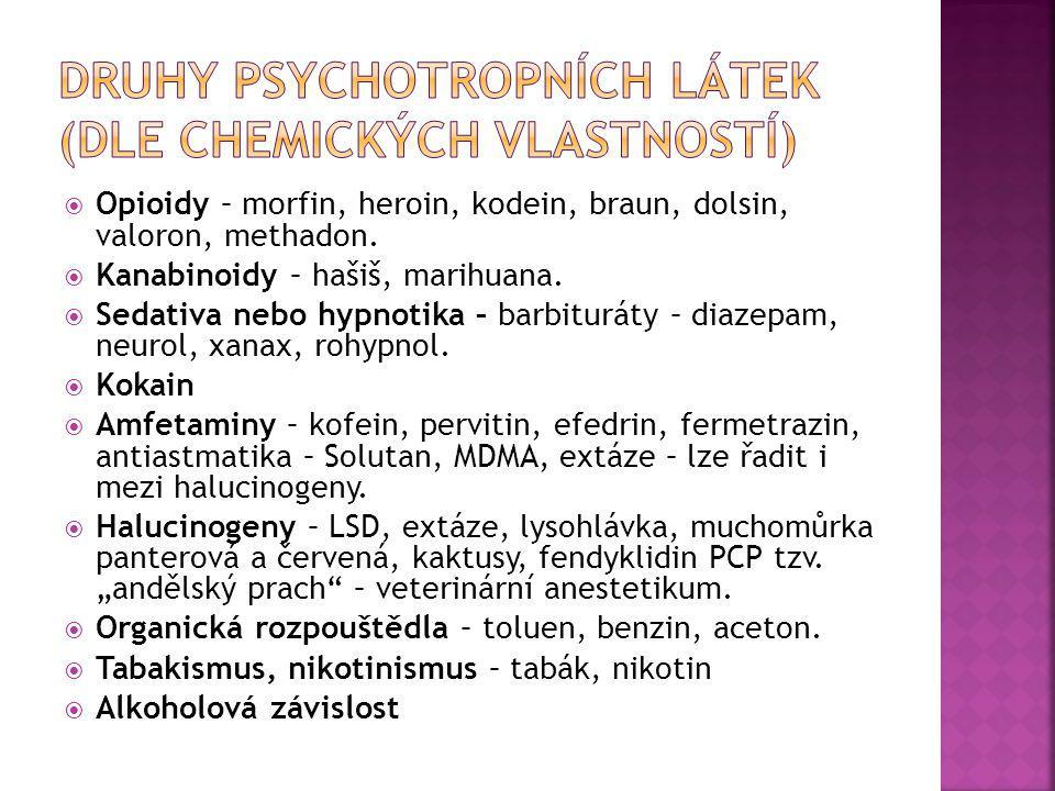 Druhy psychotropních látek (dle chemických vlastností)