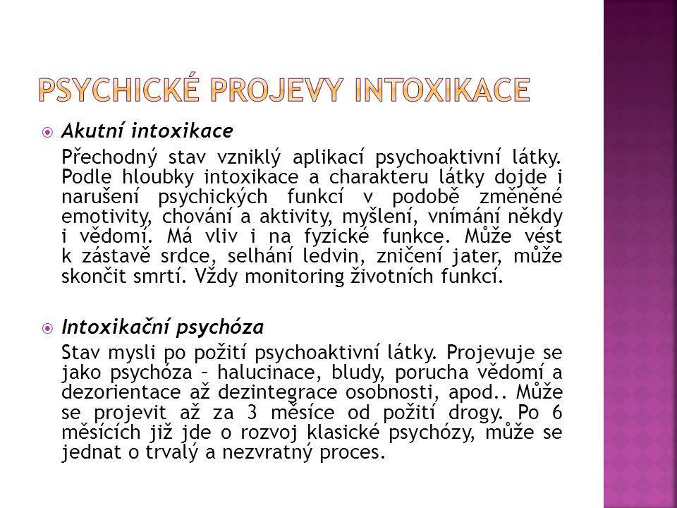 Psychické projevy intoxikace