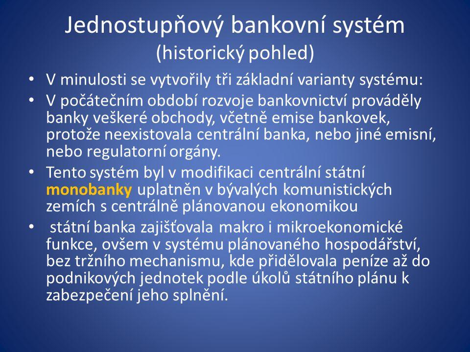 Jednostupňový bankovní systém (historický pohled)