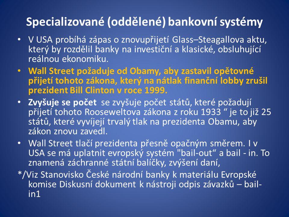 Specializované (oddělené) bankovní systémy