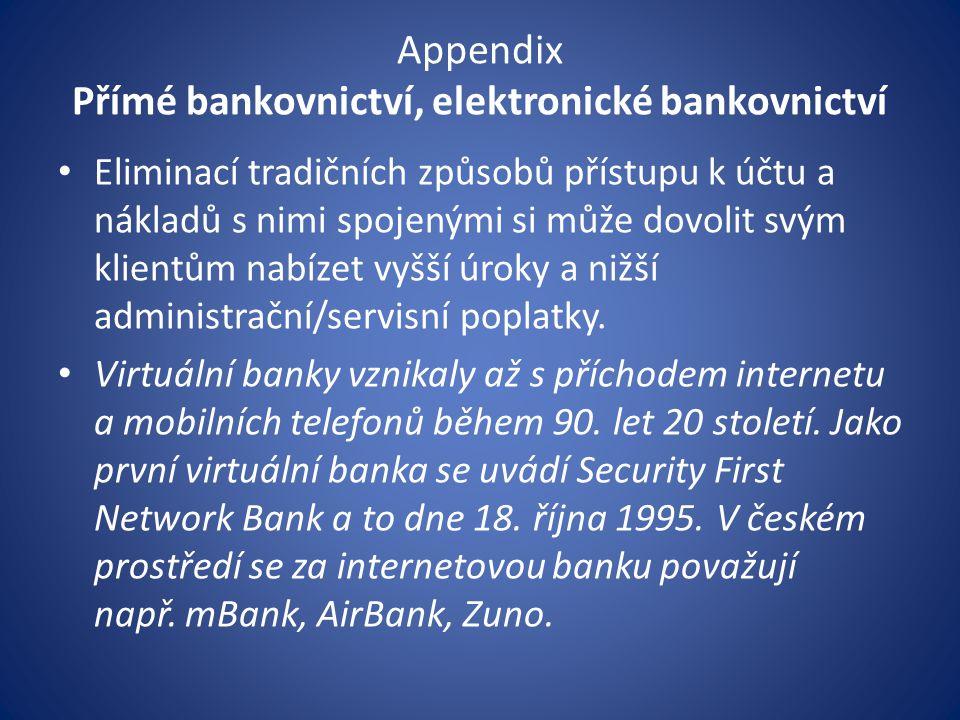 Appendix Přímé bankovnictví, elektronické bankovnictví