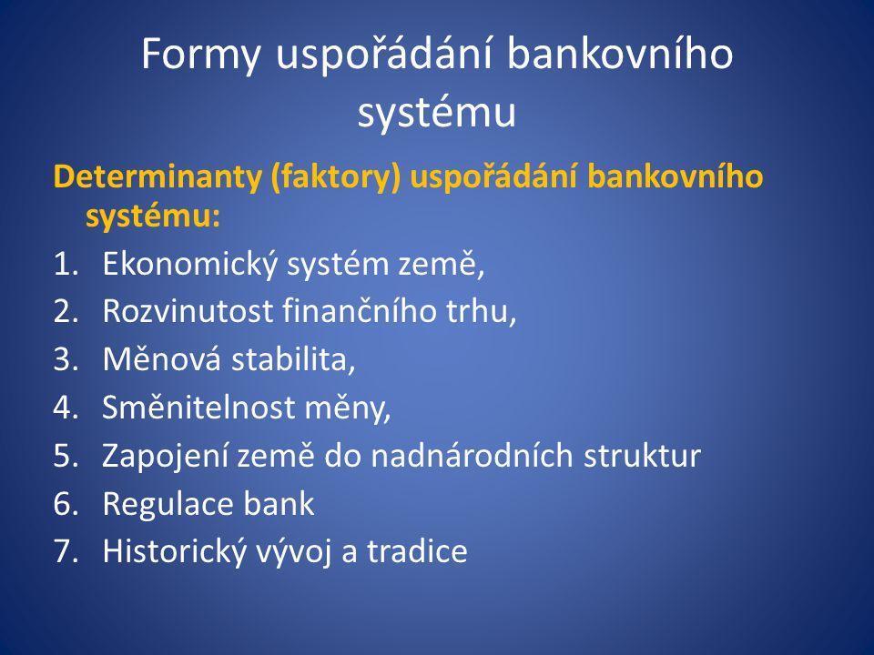 Formy uspořádání bankovního systému