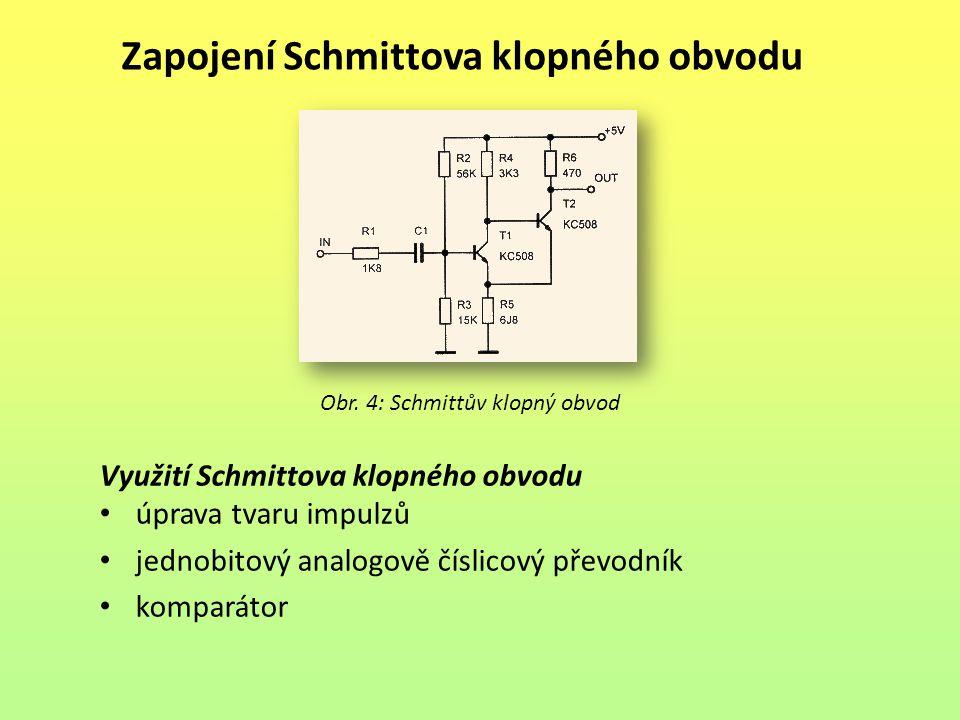 Zapojení Schmittova klopného obvodu