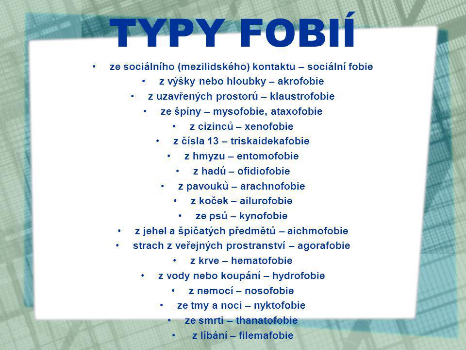 TYPY FOBIÍ ze sociálního (mezilidského) kontaktu – sociální fobie