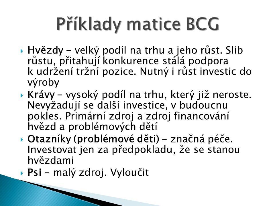 Příklady matice BCG