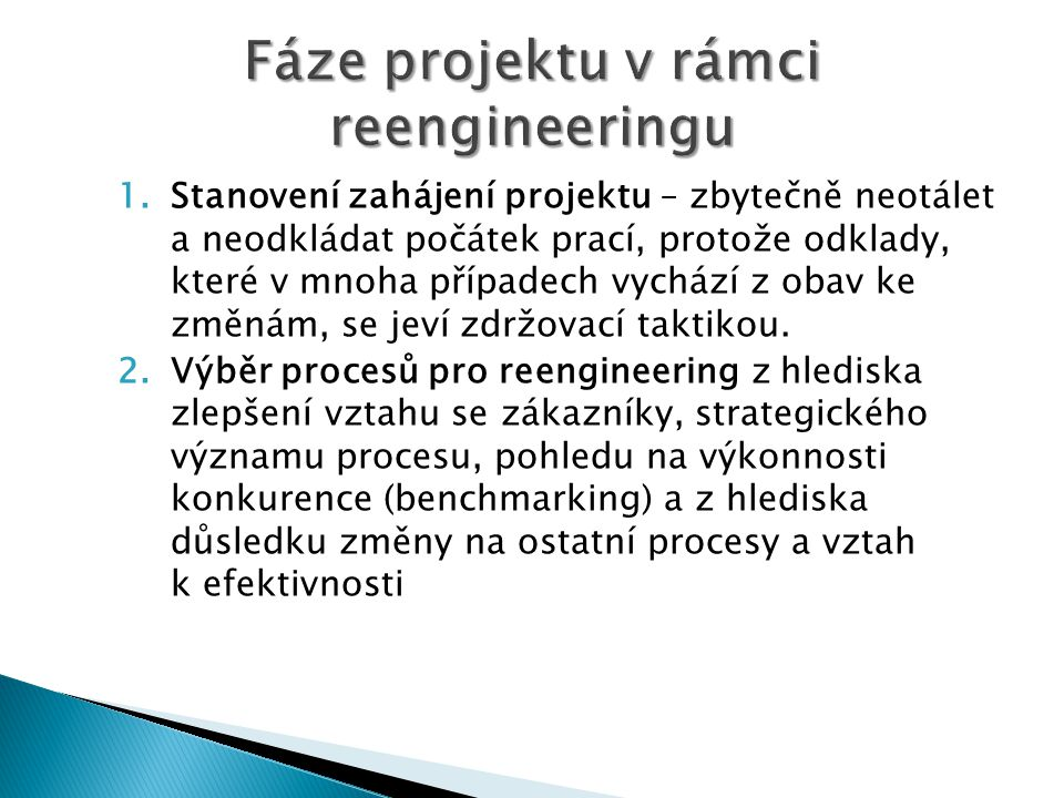 Fáze projektu v rámci reengineeringu