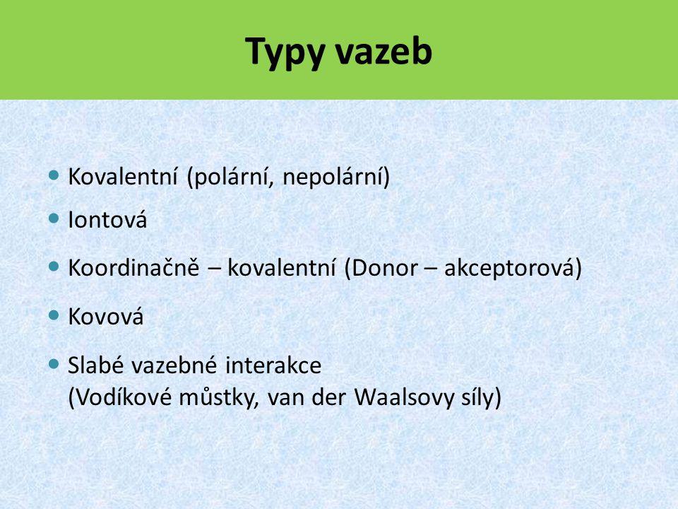 Typy vazeb Kovalentní (polární, nepolární) Iontová