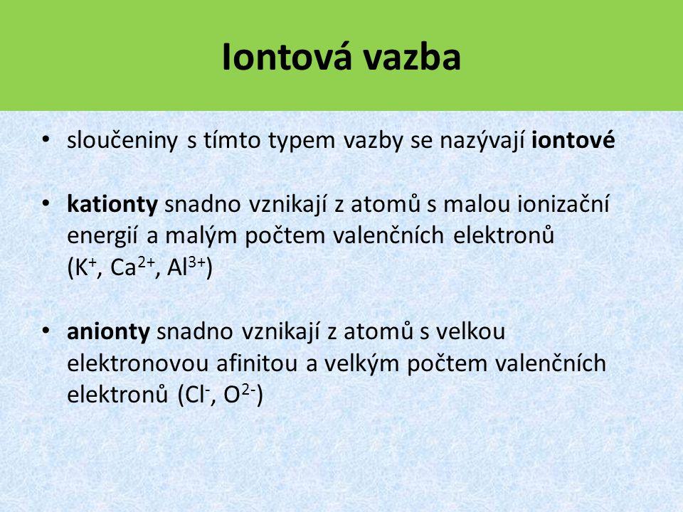 Iontová vazba sloučeniny s tímto typem vazby se nazývají iontové