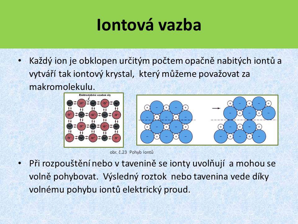 Iontová vazba Každý ion je obklopen určitým počtem opačně nabitých iontů a vytváří tak iontový krystal, který můžeme považovat za makromolekulu.
