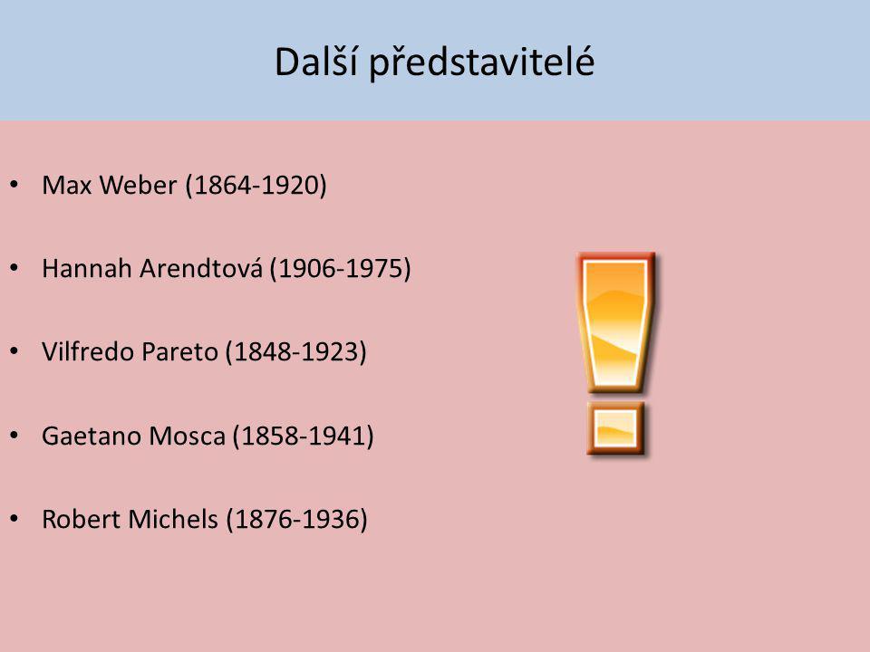 Další představitelé Max Weber (1864-1920) Hannah Arendtová (1906-1975)