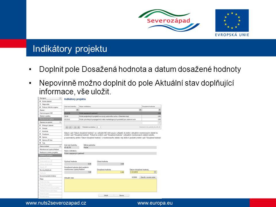 Indikátory projektu Doplnit pole Dosažená hodnota a datum dosažené hodnoty.