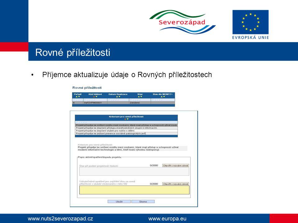 Rovné příležitosti Příjemce aktualizuje údaje o Rovných příležitostech