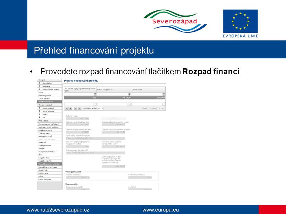 Přehled financování projektu