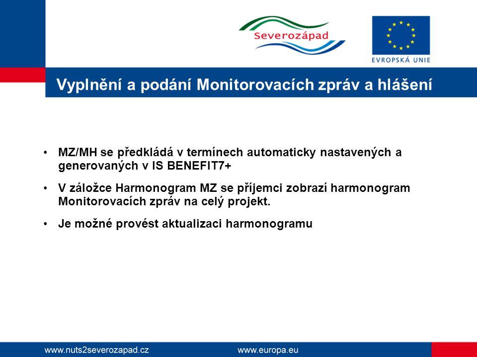 Vyplnění a podání Monitorovacích zpráv a hlášení