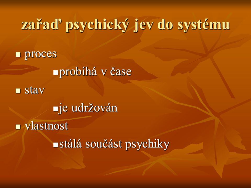 zařaď psychický jev do systému