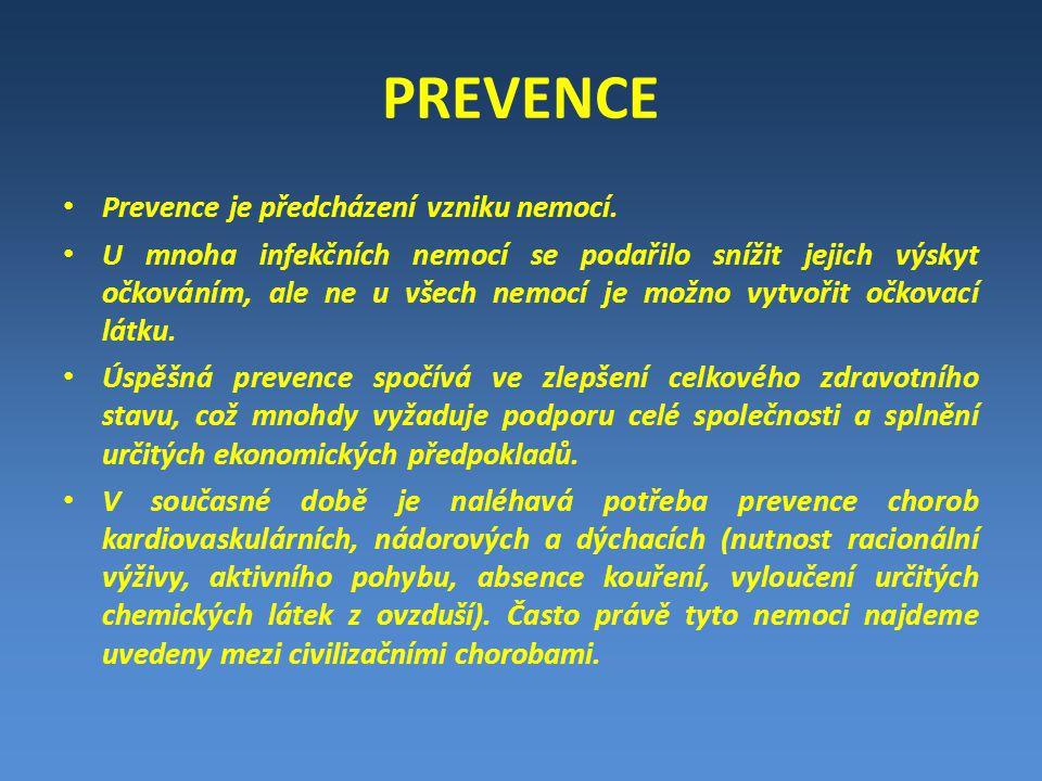PREVENCE Prevence je předcházení vzniku nemocí.