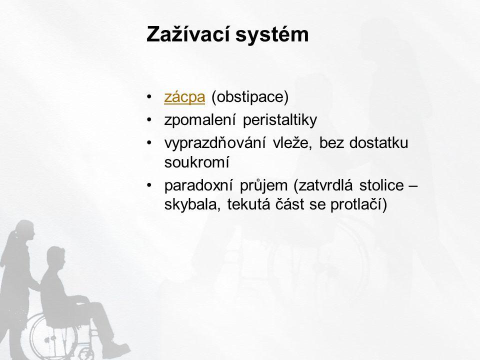 Zažívací systém zácpa (obstipace) zpomalení peristaltiky