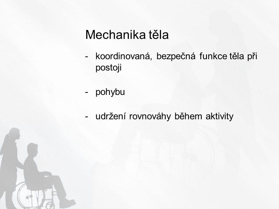 Mechanika těla koordinovaná, bezpečná funkce těla při postoji pohybu