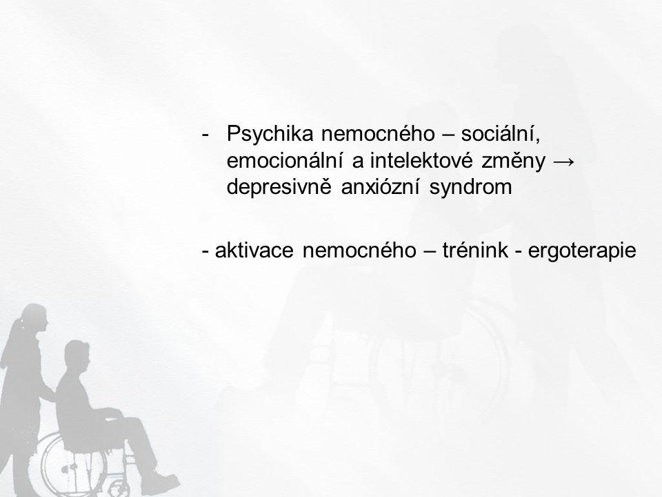 Psychika nemocného – sociální, emocionální a intelektové změny → depresivně anxiózní syndrom