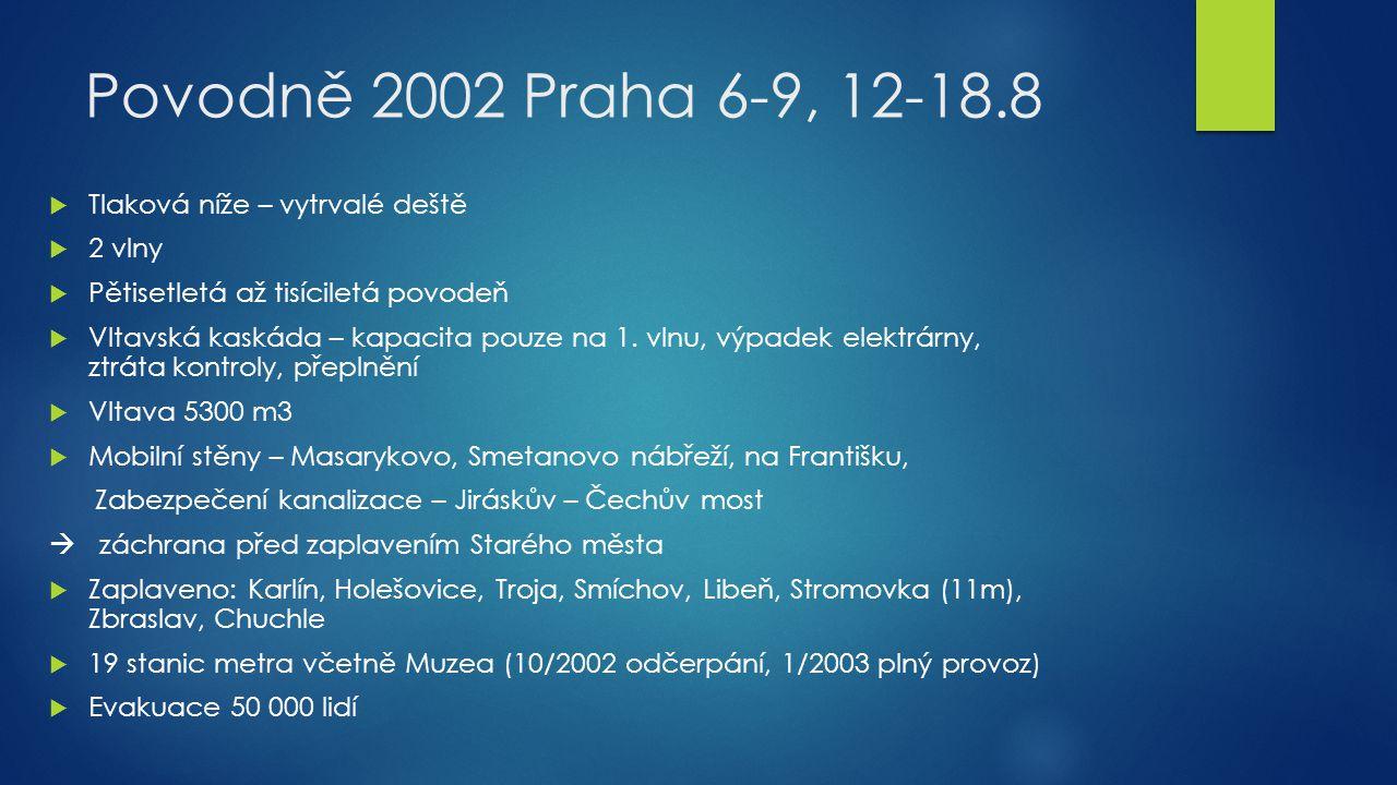 Povodně 2002 Praha 6-9, 12-18.8 Tlaková níže – vytrvalé deště 2 vlny