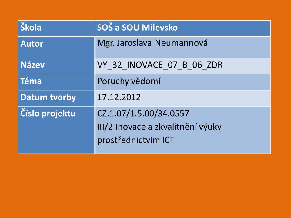 Škola SOŠ a SOU Milevsko. Autor. Mgr. Jaroslava Neumannová. Název. VY_32_INOVACE_07_B_06_ZDR. Téma.