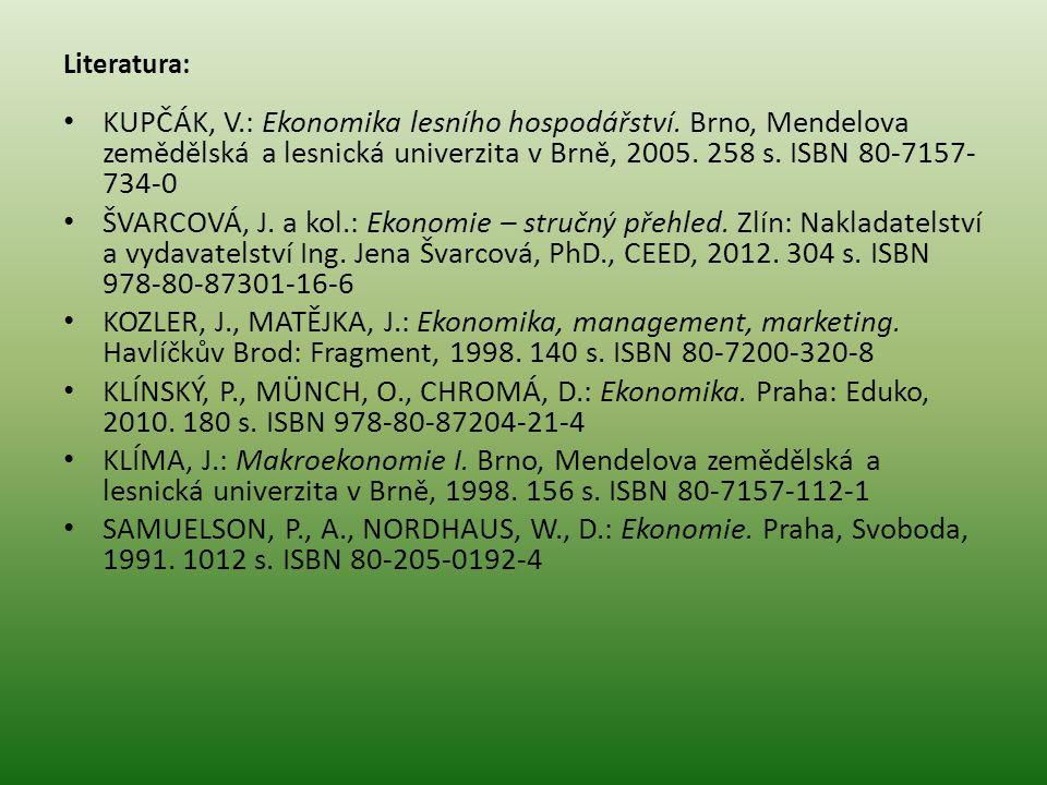 Literatura: KUPČÁK, V.: Ekonomika lesního hospodářství. Brno, Mendelova zemědělská a lesnická univerzita v Brně, 2005. 258 s. ISBN 80-7157-734-0.