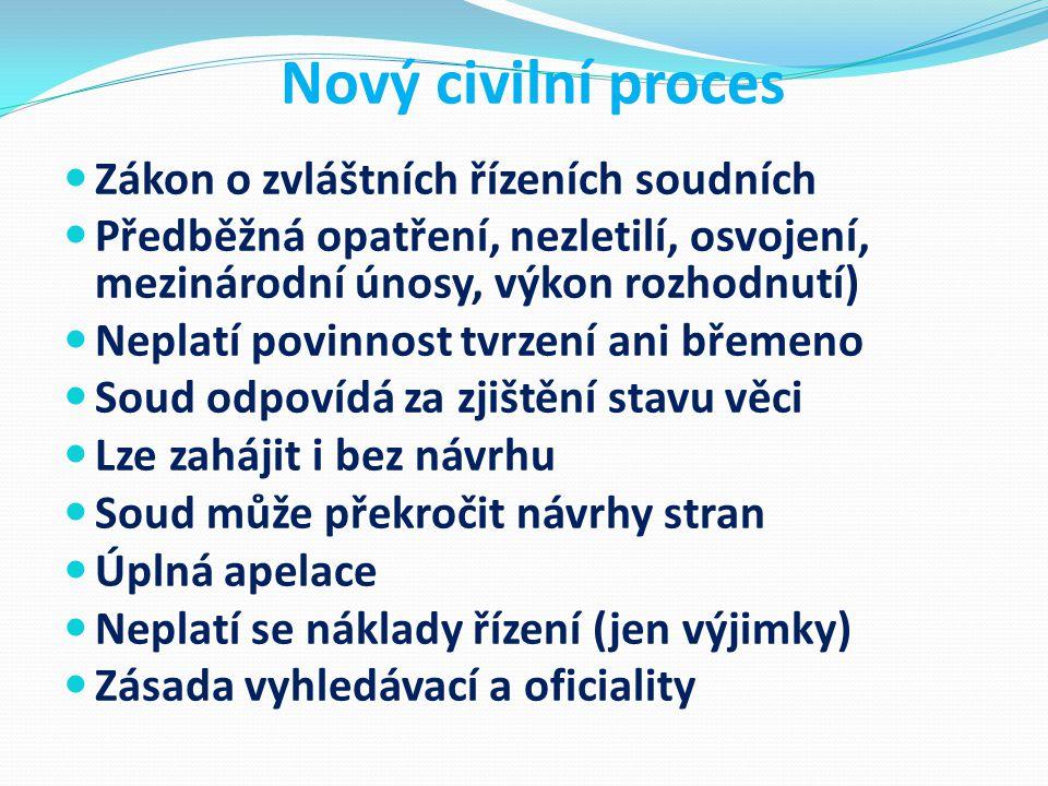 Nový civilní proces Zákon o zvláštních řízeních soudních