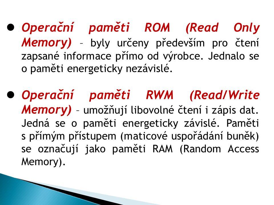 Operační paměti ROM (Read Only Memory) – byly určeny především pro čtení zapsané informace přímo od výrobce. Jednalo se o paměti energeticky nezávislé.