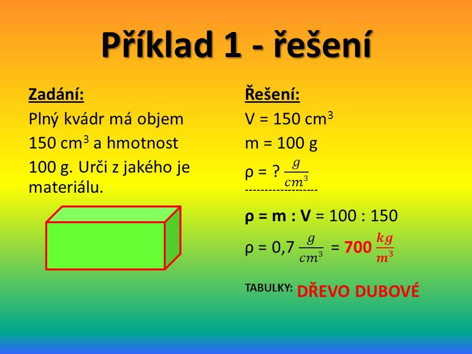 Příklad 1 - řešení Zadání: Plný kvádr má objem 150 cm3 a hmotnost 100 g. Urči z jakého je materiálu.