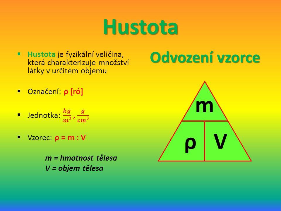 Hustota m ρ V Odvození vzorce