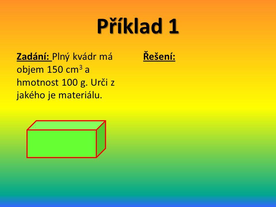 Příklad 1 Zadání: Plný kvádr má objem 150 cm3 a hmotnost 100 g. Urči z jakého je materiálu. Řešení: