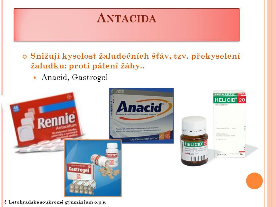 Antacida Snižují kyselost žaludečních šťáv, tzv. překyselení žaludku; proti pálení žáhy.. Anacid, Gastrogel.