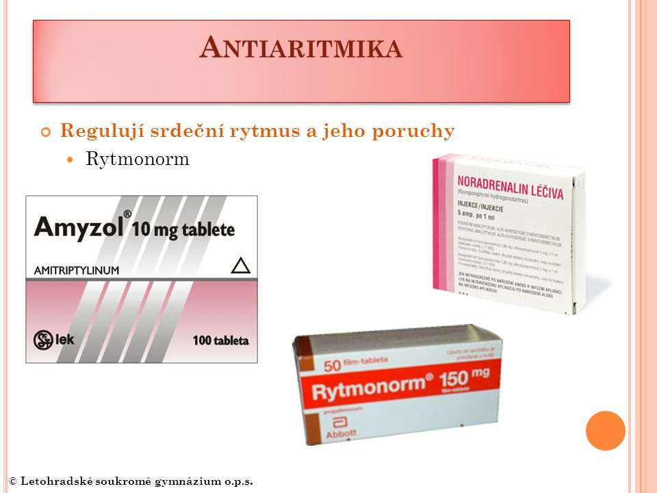 Antiaritmika Regulují srdeční rytmus a jeho poruchy Rytmonorm