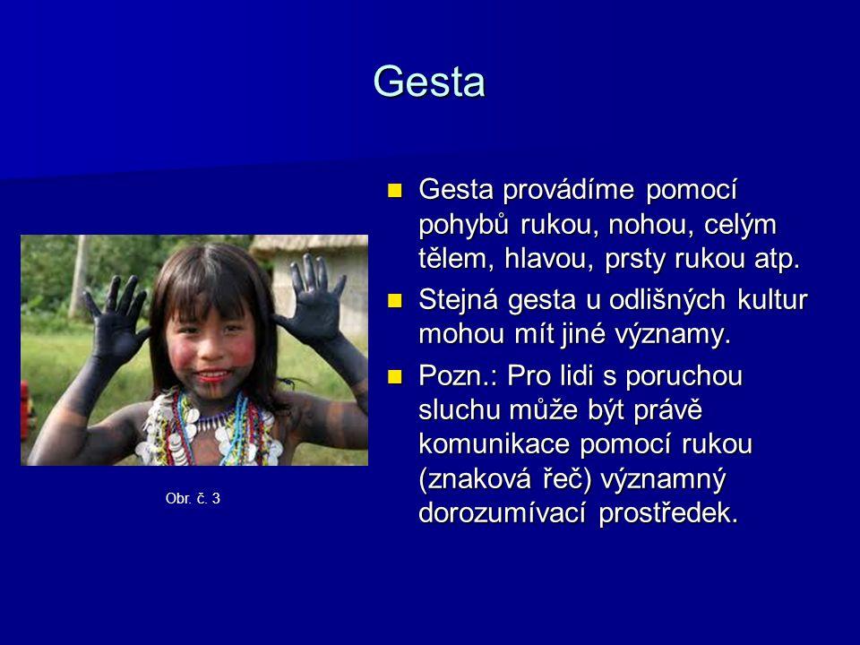Gesta Gesta provádíme pomocí pohybů rukou, nohou, celým tělem, hlavou, prsty rukou atp. Stejná gesta u odlišných kultur mohou mít jiné významy.