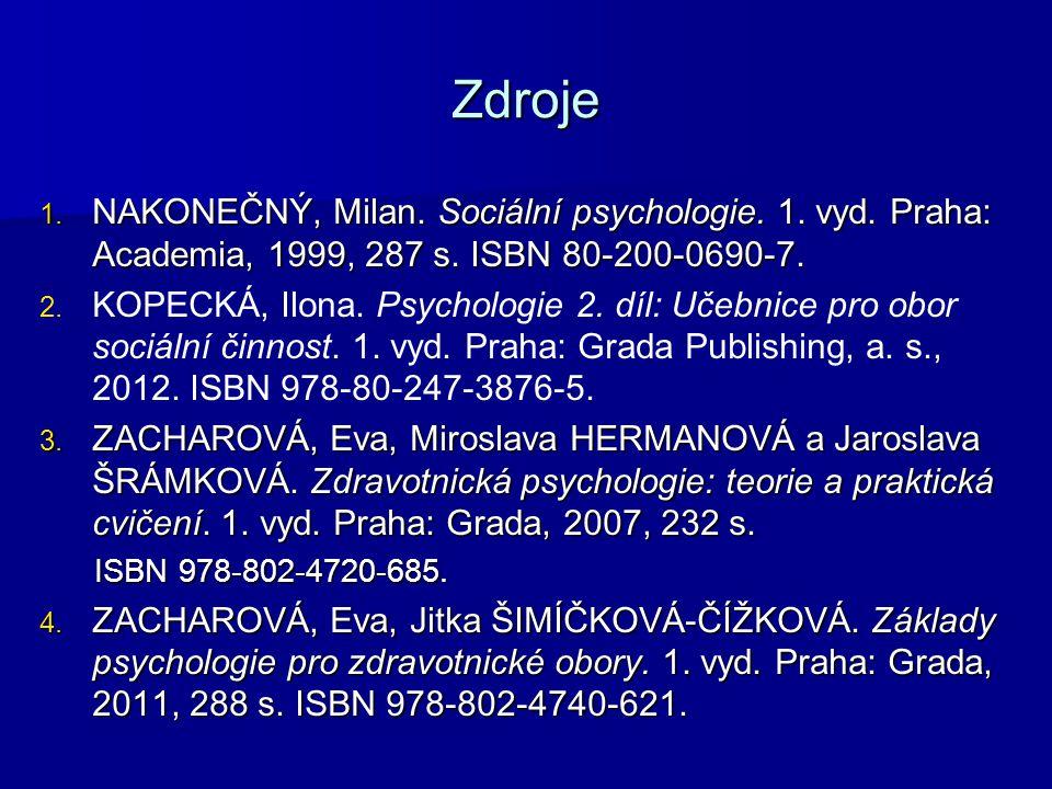 Zdroje NAKONEČNÝ, Milan. Sociální psychologie. 1. vyd. Praha: Academia, 1999, 287 s. ISBN 80-200-0690-7.