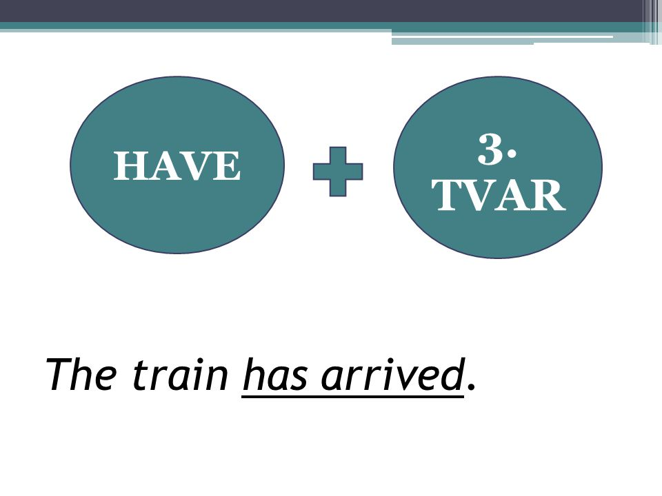 HAVE 3. TVAR The train has arrived.