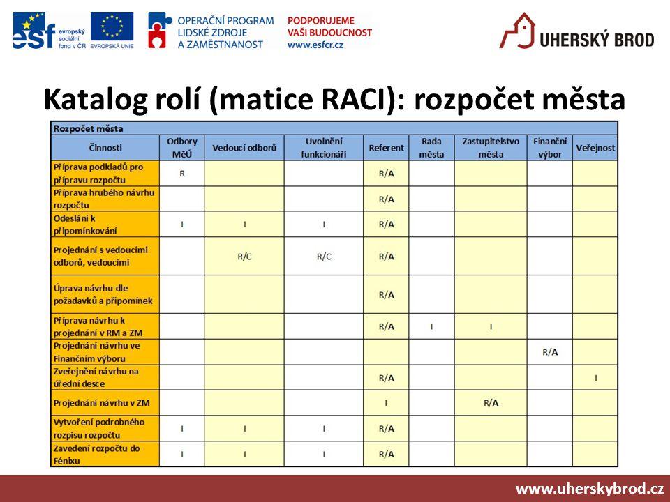 Katalog rolí (matice RACI): rozpočet města