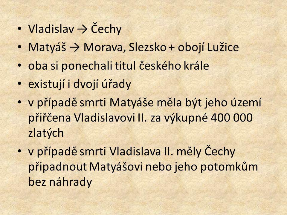 Vladislav → Čechy Matyáš → Morava, Slezsko + obojí Lužice. oba si ponechali titul českého krále. existují i dvojí úřady.