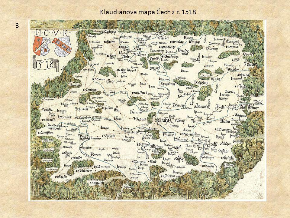 Klaudiánova mapa Čech z r. 1518