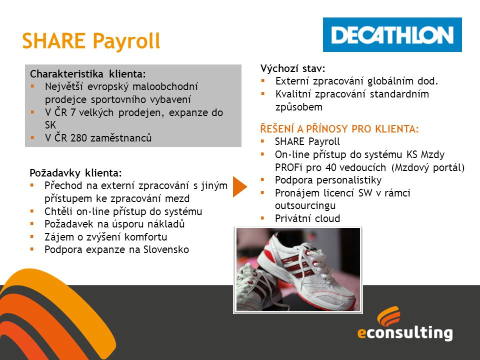 SHARE Payroll Výchozí stav: Charakteristika klienta: