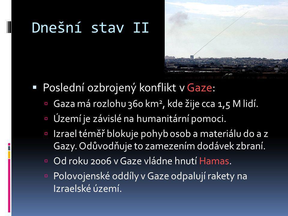 Dnešní stav II Poslední ozbrojený konflikt v Gaze: