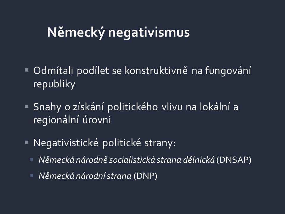 Německý negativismus Odmítali podílet se konstruktivně na fungování republiky. Snahy o získání politického vlivu na lokální a regionální úrovni.