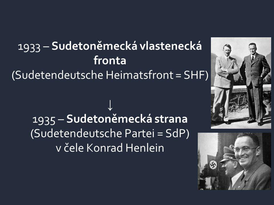 1933 – Sudetoněmecká vlastenecká fronta (Sudetendeutsche Heimatsfront = SHF) ↓ 1935 – Sudetoněmecká strana (Sudetendeutsche Partei = SdP) v čele Konrad Henlein