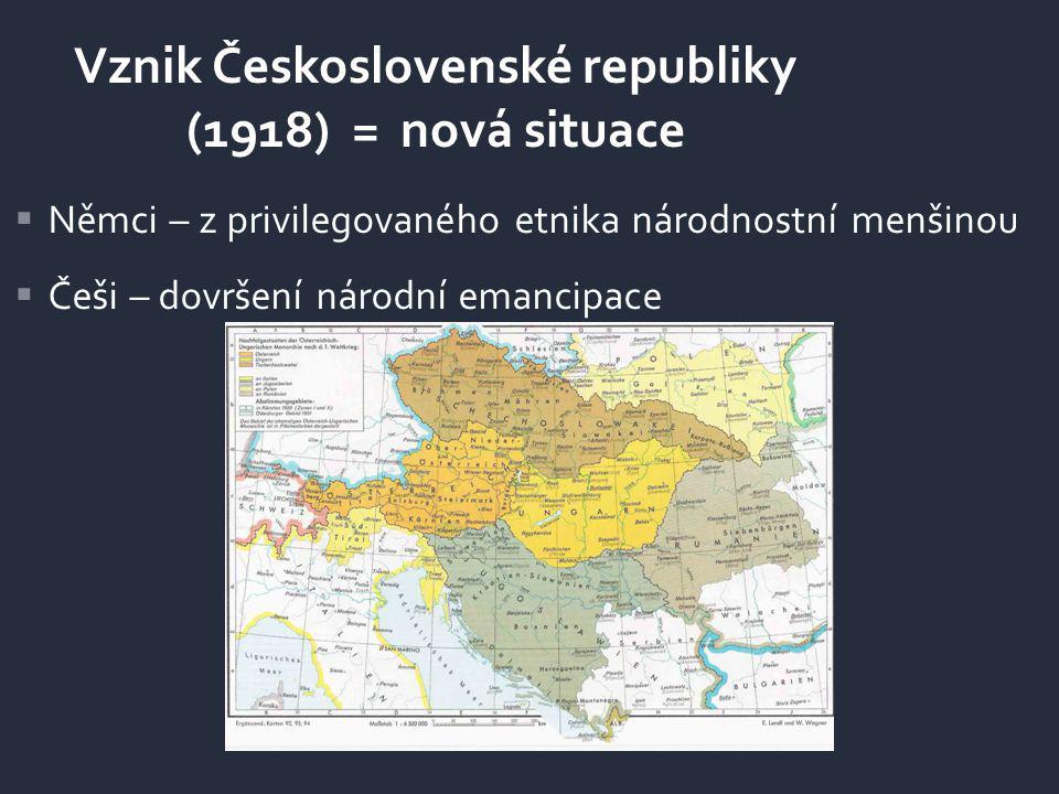 Vznik Československé republiky (1918) = nová situace