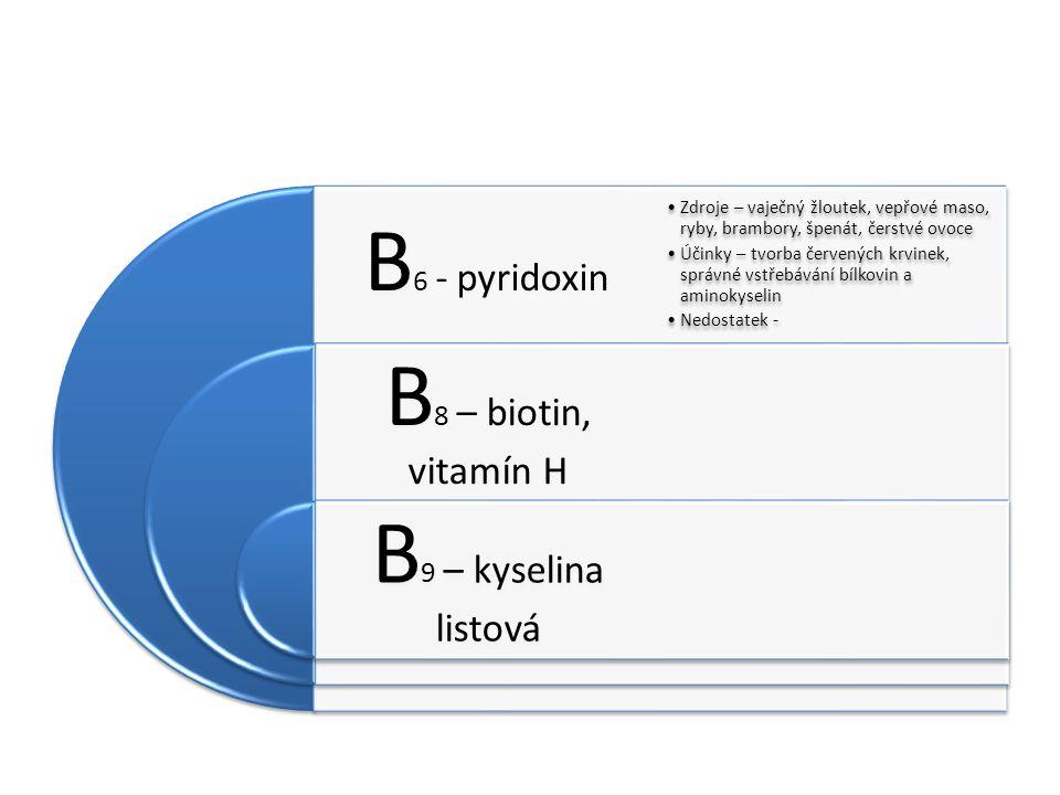 B6 - pyridoxin B8 – biotin, vitamín H B9 – kyselina listová