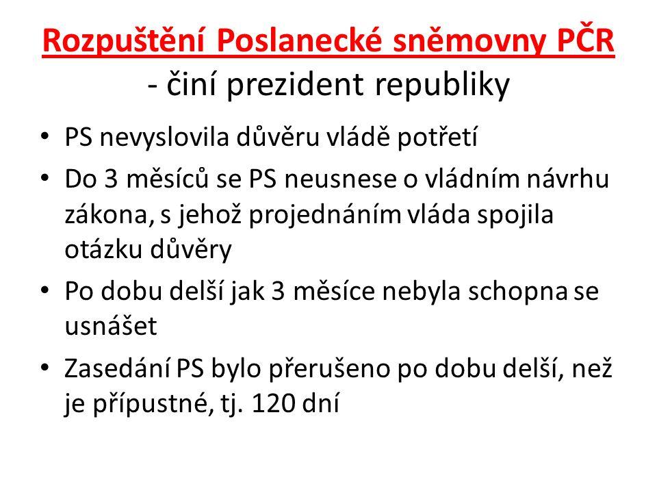 Rozpuštění Poslanecké sněmovny PČR - činí prezident republiky