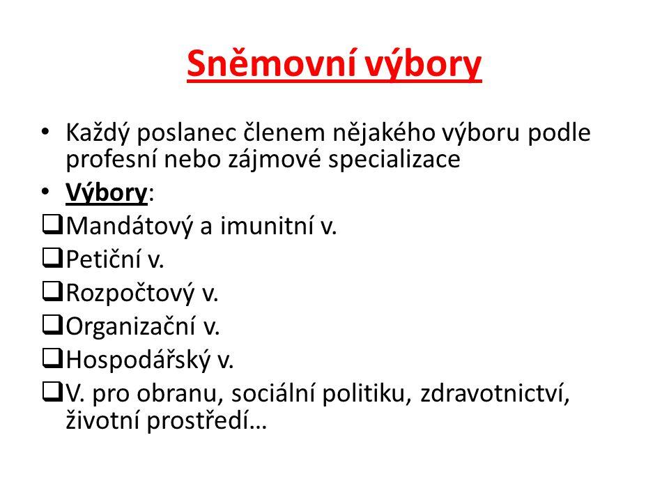 Sněmovní výbory Každý poslanec členem nějakého výboru podle profesní nebo zájmové specializace. Výbory: